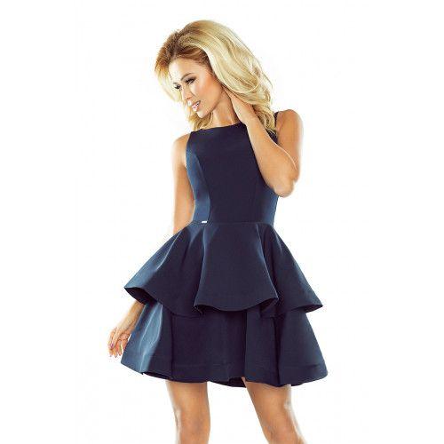 Sukienka CRISTINA rozkloszowana - GRANATOWA XL zdjęcie 1