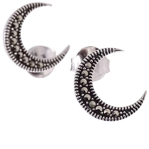 IRMA Srebrne kolczyki z markazytami półksiężyc sztyft małe zdjęcie 1