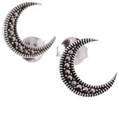 IRMA Srebrne kolczyki z markazytami półksiężyc sztyft małe