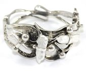 Bransoleta srebrna artystyczna z perłami
