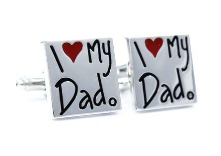 Srebrne spinki do mankietów - I love my Dad U48