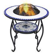 VidaXL Mozaikowe palenisko ze stolikiem, niebiesko-białe, 68 cm