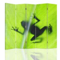 Parawan ozdobny, Żaba na zielonym lisciu 180x150