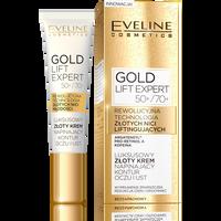 EVELINE Gold Lift Expert 50+/70+ 15ml - luksusowy złoty krem napinający kontur oczu i ust