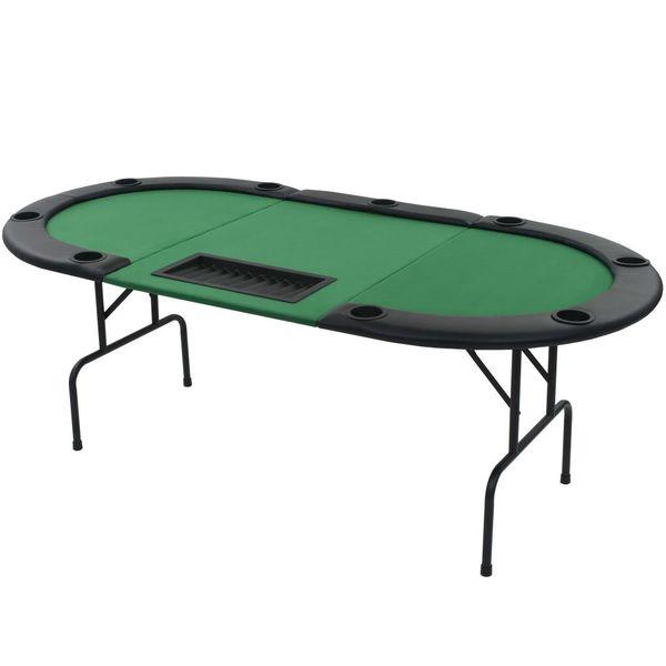 Składany, owalny stół do pokera dla 9 graczy, zielony zdjęcie 2