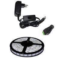 Taśma LED 5m 60/m SMD 3528 b/zimna+zasilacz z wyłącznikiem-zestaw