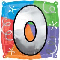 Balon foliowy kwadratowy kolorowy CYFRA liczba 0