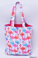 Torba na zakupy bawełniana shopperka eko torba zakupowa flamingi róż