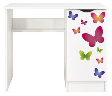 Białe biurko z szafką - kolorowe motyle