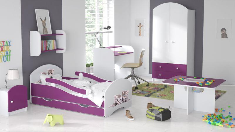 Łóżko dziecięce łóżeczko 140x70 biały / fiolet szuflada materac zdjęcie 7