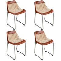 Krzesła stołowe, 4 szt., brązowo-beżowe, skóra i płótno