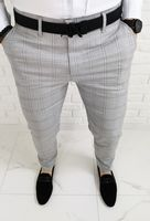 Szare eleganckie meskie spodnie slim fit w krate 1475 - 31