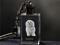 Havanese - kryształowy brelok z wizerunkiem psa