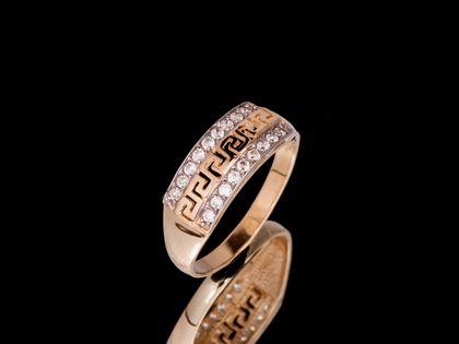 P668 Złoty pierścionek, droga grecka z cyrkoniami. 585