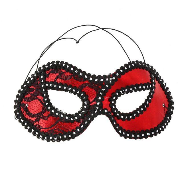 Maska z koronką czerwona zdjęcie 1
