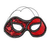 Maska z koronką czerwona