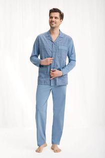 Piżama męska LUNA kod 797 rozpinana niebieski roz. XL
