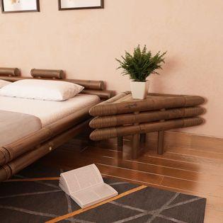 Stoliki nocne, 2 szt., 60x60x40 cm, bambusowe, ciemnobrązowe