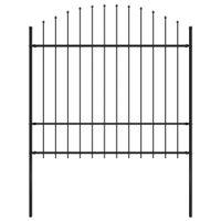Panel ogrodzeniowy z grotami, stal, (1,5-1,75) x 1,7 m, czarny
