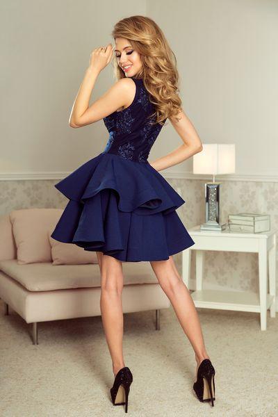 70686013e8 200-2 CHARLOTTE - ekskluzywna sukienka z koronkowym dekoltem - GRANATOWA  Rozmiar - M zdjęcie