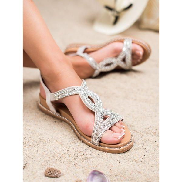 Zamszowe Sandały Z Kryształkami r.36 zdjęcie 4