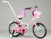 Rower dziecięcy Roses 16 cali Artpol dla dziewczynki - biało-różowy + prowadnik gratis