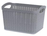 Koszyk kosz prostokątny organizer WILLOW 6,6 l szary jasny ażurowy sweterkowy wzór