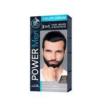 Power Men Color Cream 3in1 farba do włosów brody i wąsów 02 Dark Brown 30g