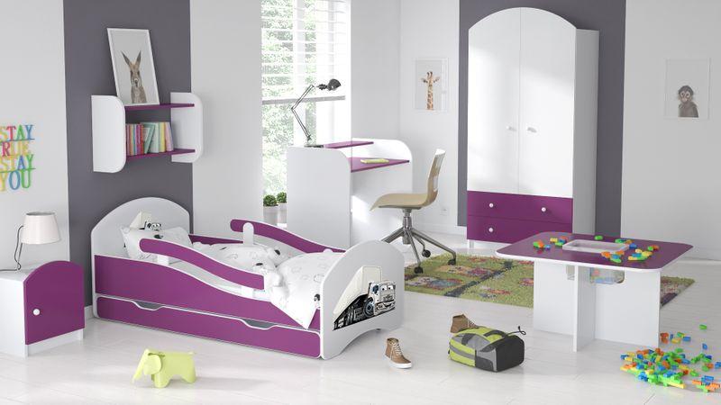 Łóżko dziecięce łóżeczko 140x70 biały / fiolet szuflada materac zdjęcie 3