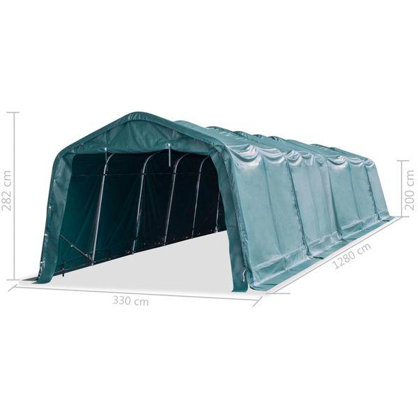 Przenośny namiot dla bydła, PVC, 3,3 x 12,8 m, ciemnozielony zdjęcie 8