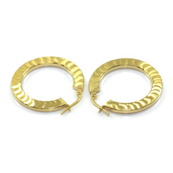 Ozdobne kolczyki kółka- srebro złocone zdjęcie 1