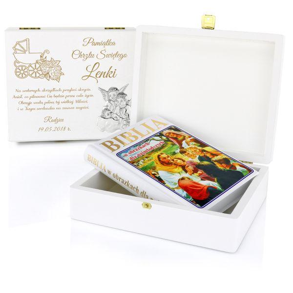 Biblia dla dzieci SZKATUŁKA prezent Chrzest GRAWER zdjęcie 1