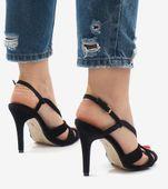 Czarne zamszowe sandały szpilki 9095-138 37 zdjęcie 5