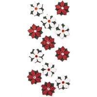 NAKLEJKI BROKATOWE 3D - POINSECJE, 12 SZT. WHITE & RED DALPRINT