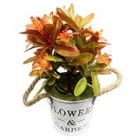 Sztuczna roślina dekoracyjna kwiatki w metalowym wiaderku pomarańczowe DFS025-4 - Pomarańczowy