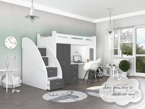 Łóżko piętrowe ZUZIA PLUS materace schodki biurko - szare na Arena.pl