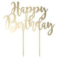 dekoracja TOPER na tort HAPPY BIRTHDAY złota 22 cm