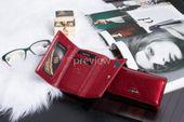 Mały portfel skórzany damski Zagatto czerwony liście RFID ZG-117 Leaf zdjęcie 5