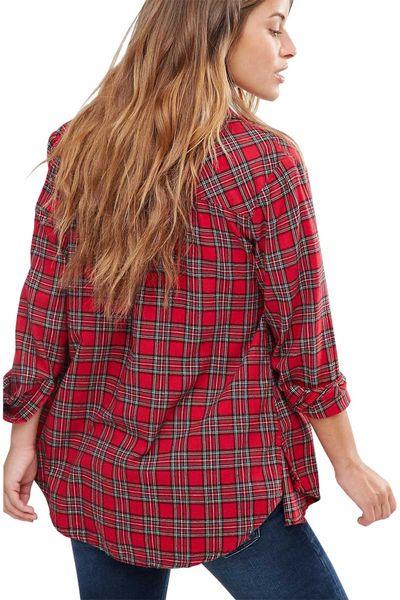 New Look Czerwona Luźna Koszula w Kratę - 34 / XS zdjęcie 2