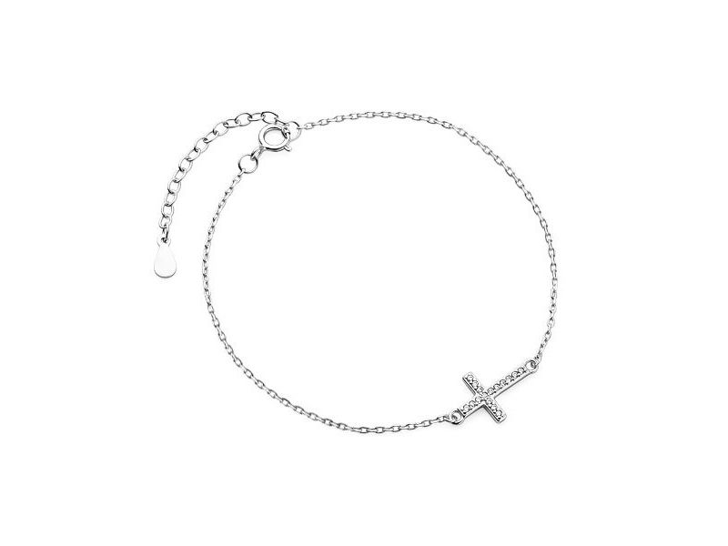 Delikatna rodowana srebrna bransoletka gwiazd celebrytka krzyżyk krzyż cyrkonie srebro 925 Z1664B1 zdjęcie 1