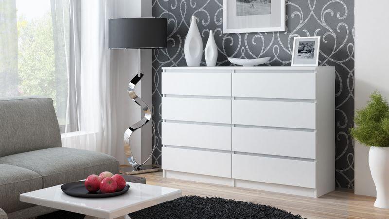 Duża komoda szafka 8 szuflad 140cm * kolor biały zdjęcie 2