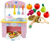 Kuchnia Drewniana Dla Dzieci Garnki Akcesoria Owoce Magnetyczne U46U zdjęcie 12