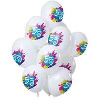 Balony 55 URODZINY biało KOLOROWE 12 szt