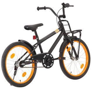 Rower dziecięcy z bagażnikiem, 20 cali, czarno-pomarańczowy