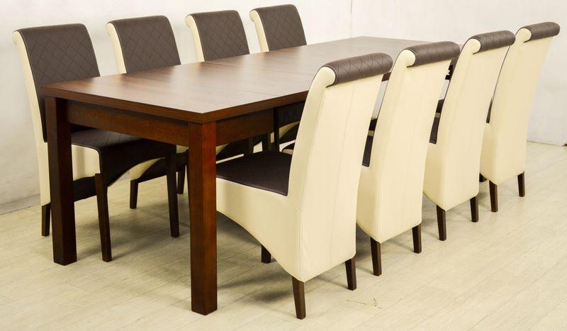 8 Krzesła I Duży Rozkładany Stół 90x90290 Cm Arenapl