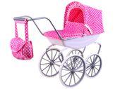Wózek dla lalek retro GONDOLA w kropki róż ZA2376