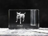 Pit Bull - kryształowy stojak na długopis z wizerunkiem psa, pamiątka, dekoracja, kolekcja.