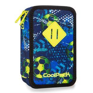 Potrójny piórnik szkolny Coolpack z wyposażeniem, Jumper 3 Football Blue, B67037