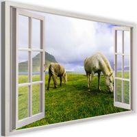 Obraz na płótnie - Canvas, okno - konie na łące 90x60