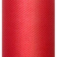 tiul GŁADKI czerwony 50 m satyna w rolkach 0,3